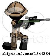 Black Explorer Ranger Man Kneeling Shooting Sniper Rifle