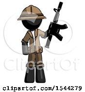 Black Explorer Ranger Man Holding Automatic Gun