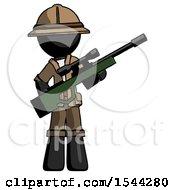 Black Explorer Ranger Man Holding Sniper Rifle Gun