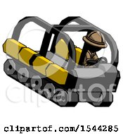 Black Explorer Ranger Man Driving Amphibious Tracked Vehicle Top Angle View