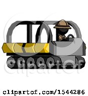 Black Explorer Ranger Man Driving Amphibious Tracked Vehicle Side Angle View