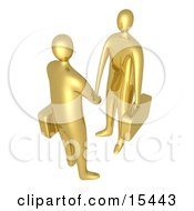 Poster, Art Print Of Two Golden Businessmen With Briefcases Shaking Hands Upon Agreement Of A Business Deal