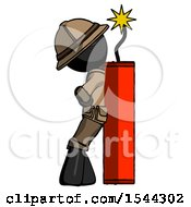 Black Explorer Ranger Man Leaning Against Dynimate Large Stick Ready To Blow