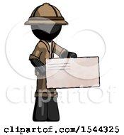 Black Explorer Ranger Man Presenting Large Envelope