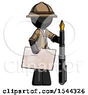 Black Explorer Ranger Man Holding Large Envelope And Calligraphy Pen