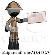Black Explorer Ranger Man Holding Large Envelope
