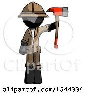 Black Explorer Ranger Man Holding Up Red Firefighters Ax