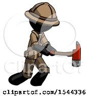 Black Explorer Ranger Man With Ax Hitting Striking Or Chopping