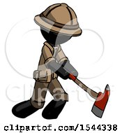 Black Explorer Ranger Man Striking With A Red Firefighters Ax