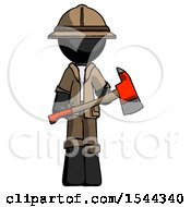 Black Explorer Ranger Man Holding Red Fire Fighters Ax