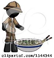 Black Explorer Ranger Man And Noodle Bowl Giant Soup Restaraunt Concept