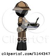 Black Explorer Ranger Man Holding Noodles Offering To Viewer