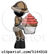 Black Explorer Ranger Man Holding Large Cupcake Ready To Eat Or Serve