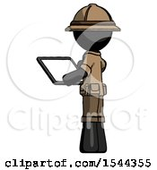 Black Explorer Ranger Man Looking At Tablet Device Computer With Back To Viewer