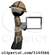 Black Explorer Ranger Man Show Tablet Device Computer To Viewer Blank Area