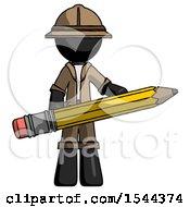Black Explorer Ranger Man Writer Or Blogger Holding Large Pencil