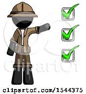 Black Explorer Ranger Man Standing By List Of Checkmarks