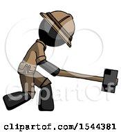 Black Explorer Ranger Man Hitting With Sledgehammer Or Smashing Something