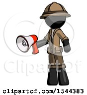 Black Explorer Ranger Man Holding Megaphone Bullhorn Facing Right