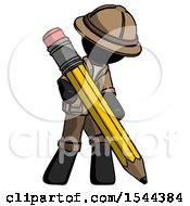 Black Explorer Ranger Man Writing With Large Pencil