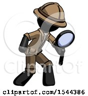 Black Explorer Ranger Man Inspecting With Large Magnifying Glass Right
