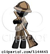 Black Explorer Ranger Man Sweeping Area With Broom