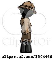Black Explorer Ranger Man Thinking Wondering Or Pondering Rear View
