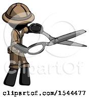 Black Explorer Ranger Man Holding Giant Scissors Cutting Out Something