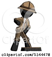 Black Explorer Ranger Man Cleaning Services Janitor Sweeping Floor With Push Broom