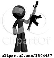 Black Design Mascot Man Holding Automatic Gun