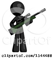 Black Design Mascot Man Holding Sniper Rifle Gun