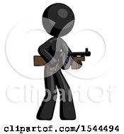 Black Design Mascot Woman Tommy Gun Gangster Shooting Pose