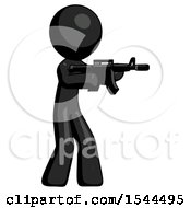 Black Design Mascot Man Shooting Automatic Assault Weapon