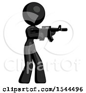 Black Design Mascot Woman Shooting Automatic Assault Weapon