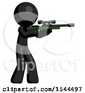 Black Design Mascot Man Shooting Sniper Rifle