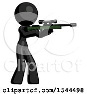 Black Design Mascot Woman Shooting Sniper Rifle