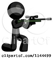Black Design Mascot Man Kneeling Shooting Sniper Rifle
