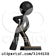 Black Design Mascot Woman Cleaning Services Janitor Sweeping Floor With Push Broom