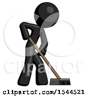 Black Design Mascot Man Cleaning Services Janitor Sweeping Side View