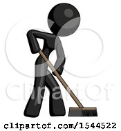 Black Design Mascot Woman Cleaning Services Janitor Sweeping Side View