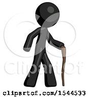 Black Design Mascot Man Walking With Hiking Stick