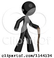 Black Design Mascot Woman Walking With Hiking Stick