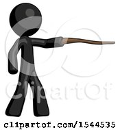 Black Design Mascot Man Pointing With Hiking Stick