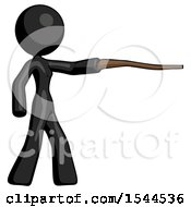 Black Design Mascot Woman Pointing With Hiking Stick