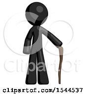 Black Design Mascot Man Standing With Hiking Stick
