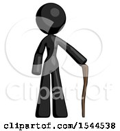 Black Design Mascot Woman Standing With Hiking Stick
