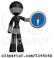Black Design Mascot Woman Holding A Large Compass