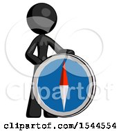 Black Design Mascot Woman Standing Beside Large Compass