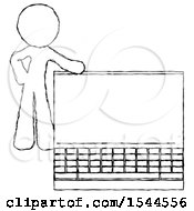 Sketch Design Mascot Man Beside Large Laptop Computer Leaning Against It