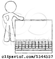 Sketch Design Mascot Woman Beside Large Laptop Computer Leaning Against It